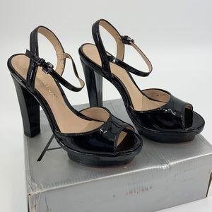 Amiana Black Patent Leather Platform Peep Toe Heel